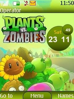 Plants Vs Zombies Clock S40 Theme Mobile Theme