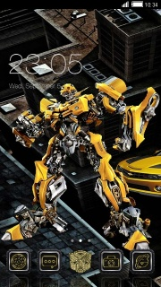 Yellow Robot Fighter Android Theme Mobile Theme