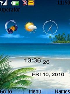 Beach Clock Mobile Theme
