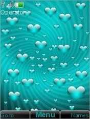 Teal Hearts Mobile Theme