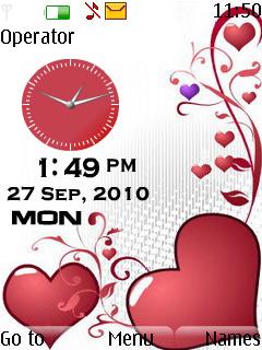 Love Dual Clock Mobile Theme