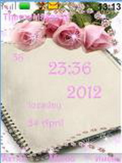 Pink Roses Clock Mobile Theme
