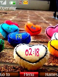 Colors Heart Clock Mobile Theme