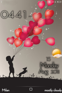 LS Balloons Hearts IPhone Theme Mobile Theme
