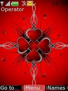 Red Hearts Of Love Mobile Theme