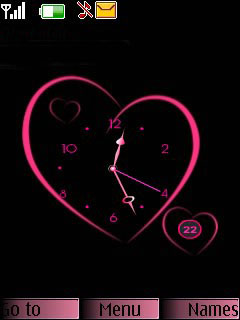 Heart Pink Clock Mobile Theme