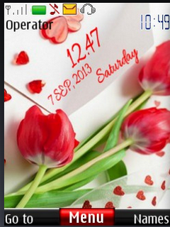 Red Love Rose Clock S40 Theme Mobile Theme