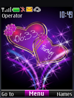 Love Heart Digital Clock S40 Theme Mobile Theme