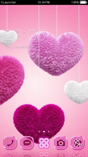 Fluffy Hearts Love Android Theme Mobile Theme