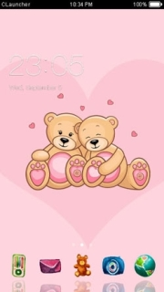 Pink Teddy Love Android Theme Mobile Theme