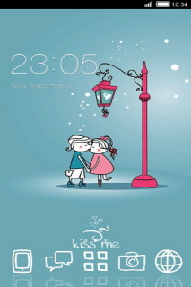 Kissing In Winter Love Android Theme Mobile Theme