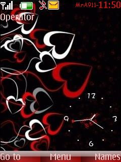 Love Clock With Hearts Mobile Theme