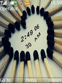 Match Sticks Clock Mobile Theme