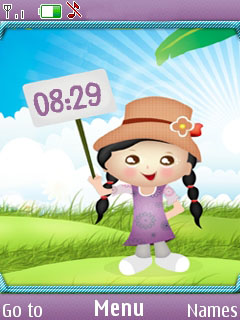 Cute Girl Clock Mobile Theme