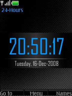 Carbon Blue Clock Mobile Theme