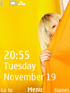 Hide Face Yellow Clock S40 Theme Mobile Theme