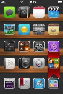 Wood Board ICons Menu IPhone Theme Mobile Theme