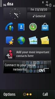 Black Simple Clock S60v5 Theme Mobile Theme