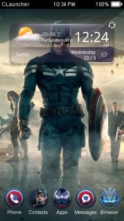 Captain America 2 Clock Android Theme Mobile Theme