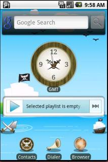 Pirates Clock Sea Android Theme Mobile Theme