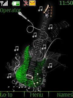 Green Guitar Mobile Theme