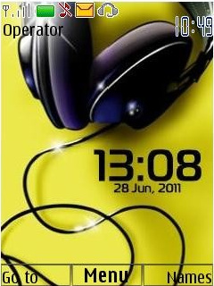 Headphones Clock Mobile Theme