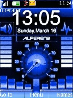 Blue Music Clock Mobile Theme