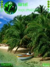 Green Lovely Beach And Boat Mobile Theme