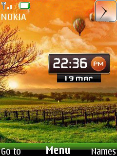 Nature Sunset Clock Mobile Theme