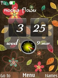 Mocha Flower Clock Mobile Theme