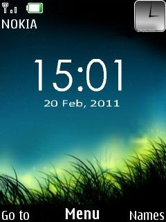 Night Grass Clock Mobile Theme