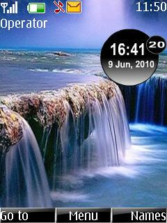 Waterfall Clock Mobile Theme