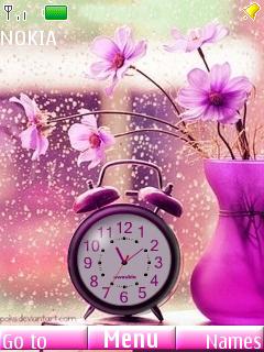 Beautiful Pink Clock Mobile Theme