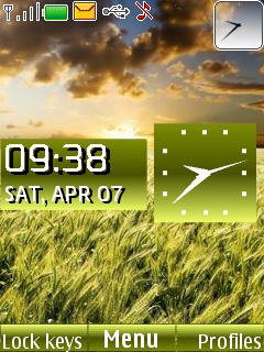 Wheat Field Clock Mobile Theme