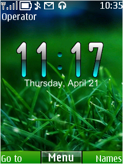 Green Nature Clock Mobile Theme