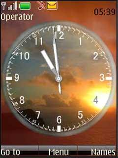 Clock And Sunset Mobile Theme