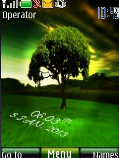 Tree Digital Clock Mobile Theme