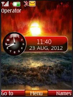 Sunset Dual Clock Mobile Theme