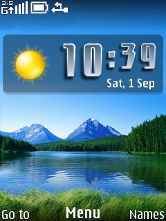 Nice Nature View Clock Mobile Theme