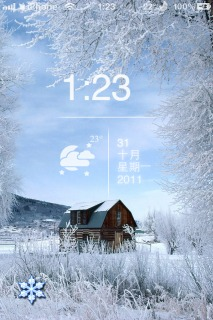 Winter House Clock Mobile Theme