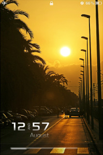 Sunset Road Clock IPhone Theme Mobile Theme
