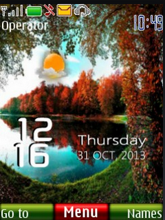 Lake Nature Clock S40 Theme Mobile Theme