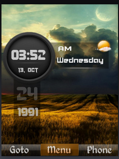 HD Field Nature Clock S40 Theme Mobile Theme