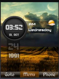 HD Field Nature Clock S40 Theme Mobile Theme