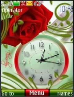 Rose Dual Clock S40 Theme Mobile Theme