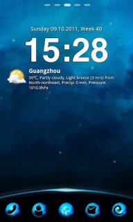 Blue Sky Night Clock Android Theme Mobile Theme