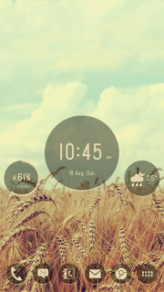 Rounds Wheat Field Clock Android Theme Mobile Theme