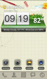 3D Sketch Nature Clock Android Theme Mobile Theme