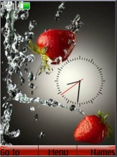 Strawberry Clock S40 Theme Mobile Theme