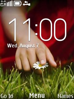 Touch White Flower Clock S40 Theme Mobile Theme
